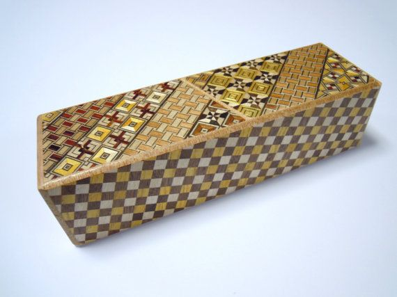 Japanese Puzzle box (Himitsu bako)- 7.5inch(190mm)- Right and Left box  Yosegi & Checker pattern