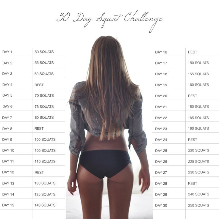 30 Day Squat Challenge... Gonna be tough, but better butt, here I come!