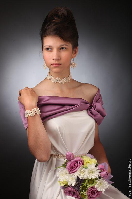 """Купить Комплект """"Нимфея"""" - белый, свадебный комплект, украшения на выпускной…"""