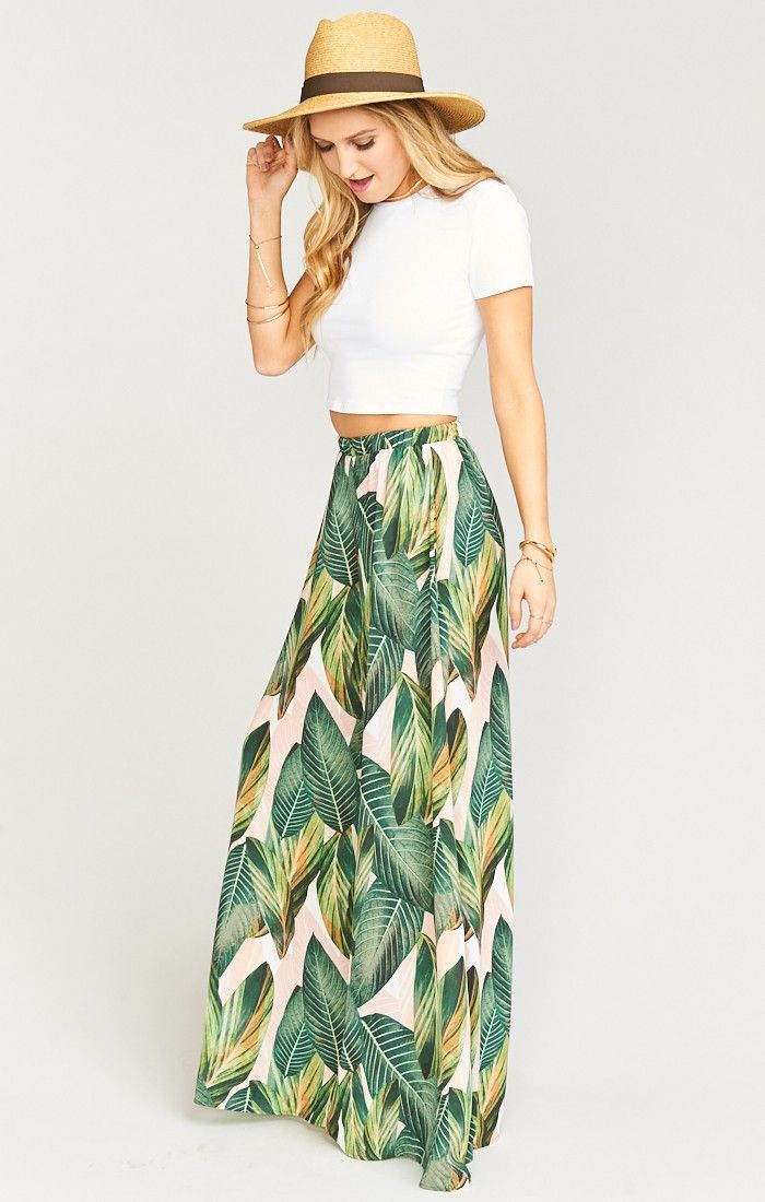 I love the large print on this maxi skirt! - The Best Pants ~ Peachy Palm | Show Me Your Mumu