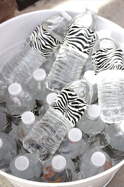 Zebra print duct tape labels!! How clever! - good for a party!