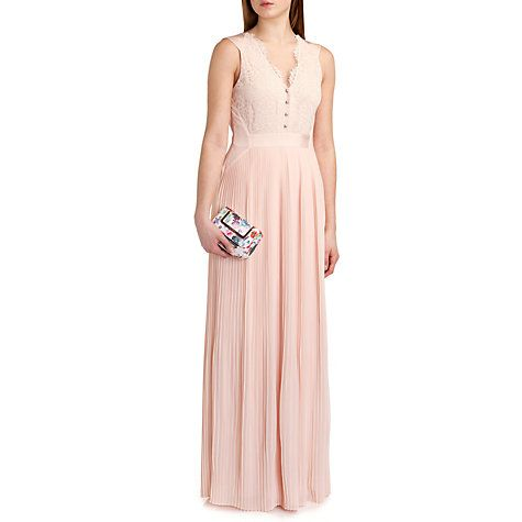 Buy Ted Baker Bai Micro Pleated Reversible Skirt Maxi Dress, Nude Pink Online at johnlewis.com