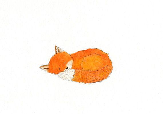 Sleeping Red Fox Print  5 x 7  Woodland by TreeHollowDesigns, $12.00