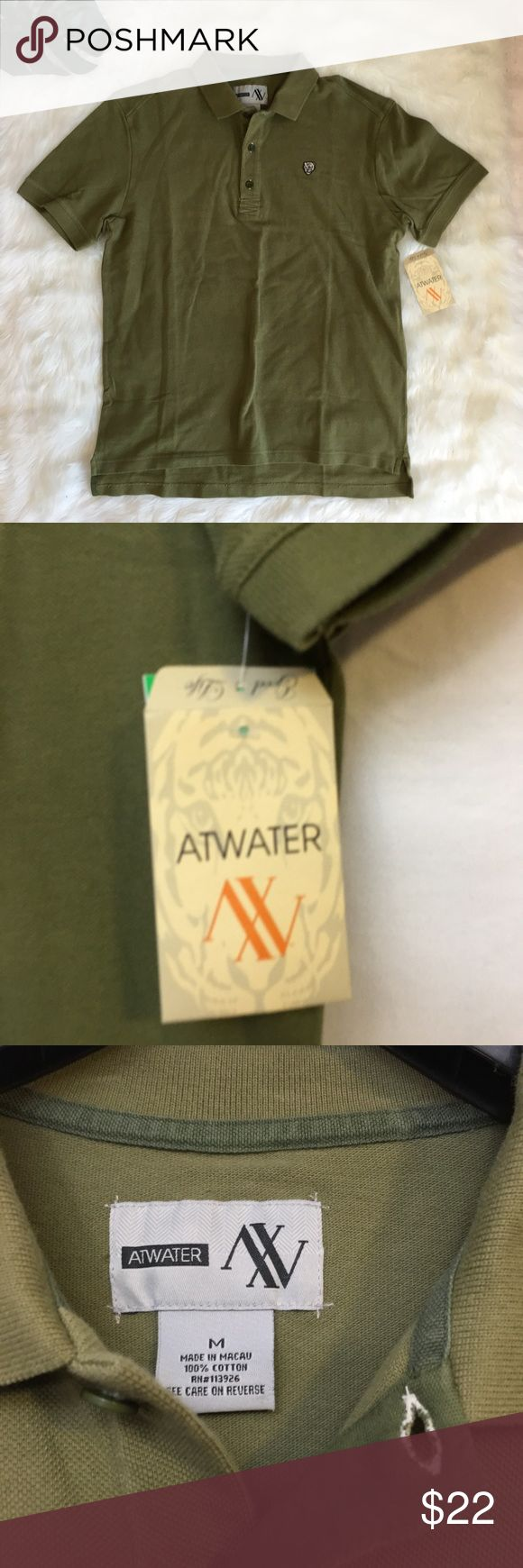 "AtWater Army Green Cotton Polo Shirt Tiger Logo AtWater Mens Army Green Cotton Polo Shirt Tiger Logo Skater Style Medium NWT 100% Cotton  LENGTH 28"" SLEEVES 8"" UNDERARM TO UNDERARM 21"" Brand new tags.   Quick shipping! WE SHIP EITHER THE SAME BUSINESS DAY OR NEXT. ORDERS ON WEEKENDS ARE IN MAIL BY MONDAY MORNING. AtWater Shirts Polos"