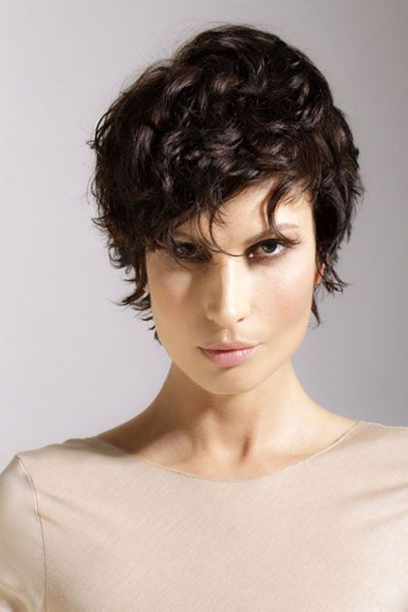 30 Best Short Curly Hairstyles 2013 - 2014 — Short Dark Simple Curly Hair (very wavy pixie; I would go even shorter in the back than it is here)