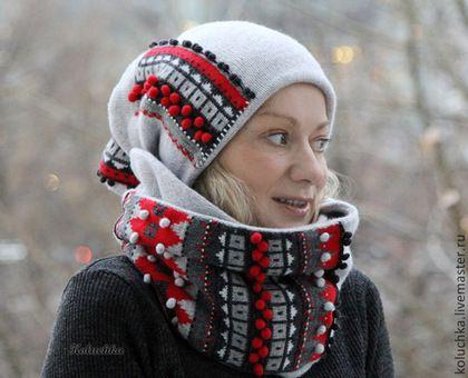 """Шапки ручной работы. Заказать """"Не холодно!)))"""" Шапка+снуд. Лена Статкевич. Ярмарка Мастеров. Снуд, koluchka"""