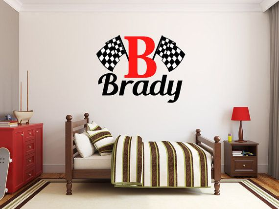 Boys Name Checkered Flag Racing Monogram Wall Decal Nursery Room Vinyl Wall  Graphics Bedroom Decor Part 83