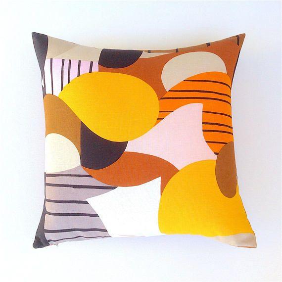 Marimekko Abstract Cushion Cover. Terracotta Orange Cushion.