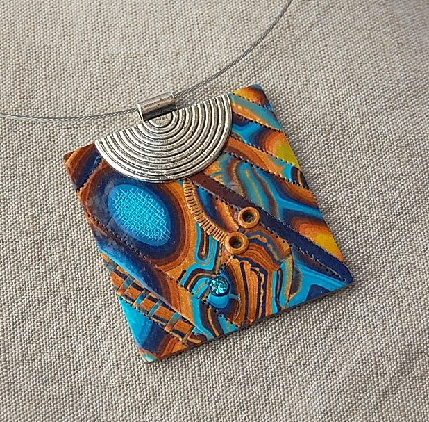 handmade polymer clay fimo and sculpey pendant - 09D02