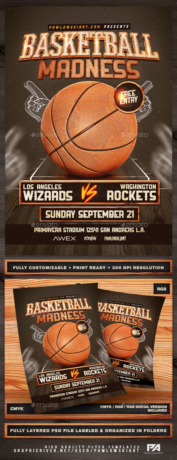 11 best sports flyers posters web images on pinterest event basketball madness v2 flyer template fandeluxe Gallery