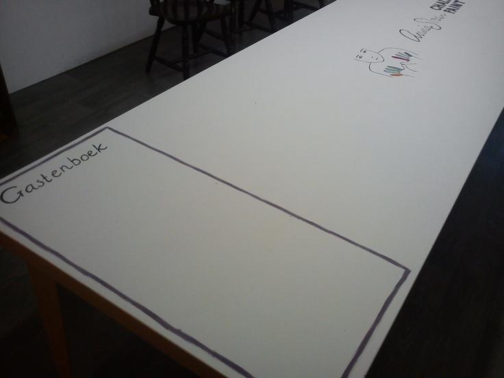 workshoptafel en gastenboek in één ~ workshoptable and guestbook in one @ tbakhuusonline