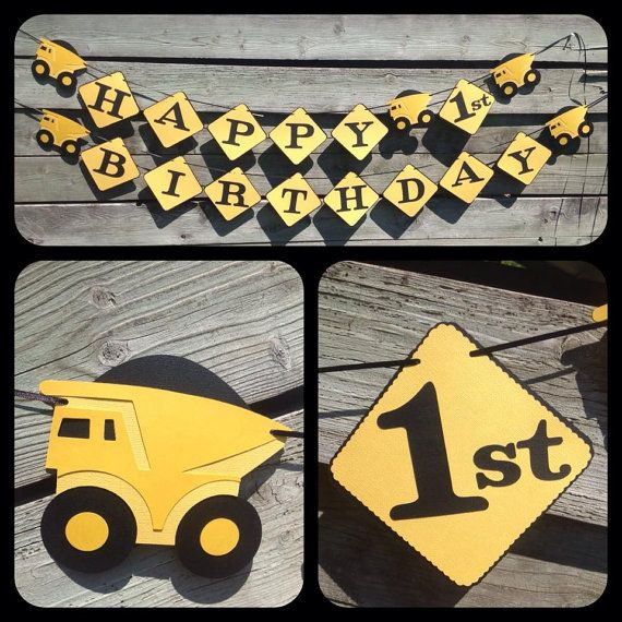 Dump Truck Construction Happy 1 st Birthday by 2inspiredcrafters