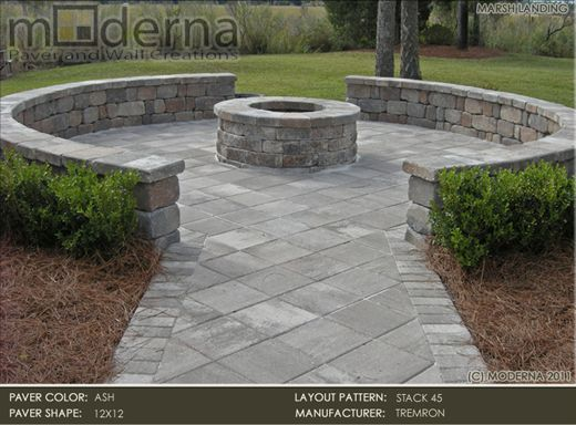 Round Concrete Patio With Firepit | Fire Pit Patio By Moderna: Tremron 12x12  Pavers In Ash In A Stack 45 ... | Yard | Pinterest | Fire Pit Patio,  Concrete ...