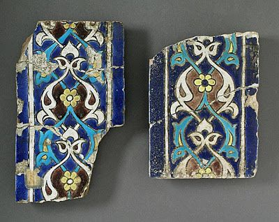 Tiles | Origin: Turkey | Period:  second quarter of 15th century | Collection: The Madina Collection of Islamic Art, gift of Camilla Chandler Frost (M.2002.1.242a-d) | Type: Ceramic; Architectural element, Earthenware, glaze-painted, b) Height: 5 13/16 in. (14.76 cm); b) Width: 9 3/4 in. (24.77 cm); b) Depth: 1 1/16 in. (2.6988 cm)