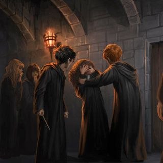 After Draco curses Hermione's teeth, Harry aims a pimple jinx at Malfoy, but it deflects onto Goyle.