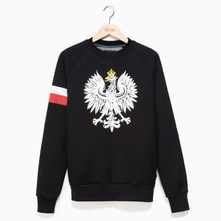 Bluza patriotyczna Bluza Orzeł Polski z biało-czerwoną opaską - czarna - odzież patriotyczna Red is Bad