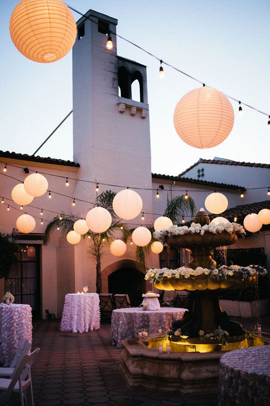 White Chinese lanterns and string lights for a perfect outdoor reception (images by Lighting at Bel Air Bay Club). Shop easy online for both the lanterns and string lights at www.partylights.com!