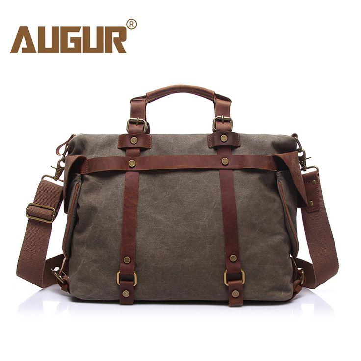 AUGUR Canvas Maleta with Leather Belt Men's Briefcase Laptop Bag maletin hombre pasta executiva masculino porta documentos