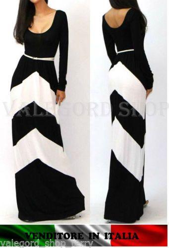 Abito-lungo-sexy-elegante-cerimonia-festa-vestito-maxi-BOHEM-bianco-nero-strisce