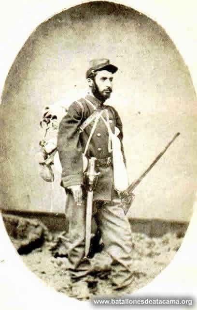 Soldado del Regimiento Atacama.Identidad desconocida. Soldier of the Atacama Battalion, unknown identity