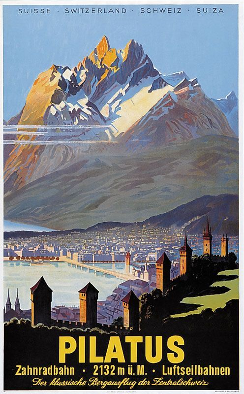 Pilatus •Switzerland 1958 _________________________ #Vintage #Travel #Poster