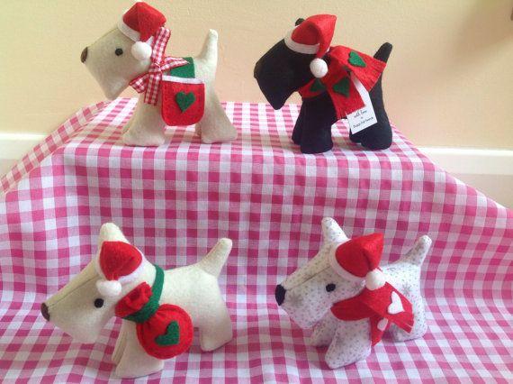 Christmas Felt Terriers Dogs