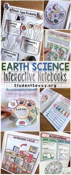 Interactive Earth Science Notebooks! My students love this bundle! 10 units including rocks minerals and gems, plate tectonics, photosynthesis, earth cycles, volcanoes, the rock cycle, biomes, energy, ecosystems, weather, and climate