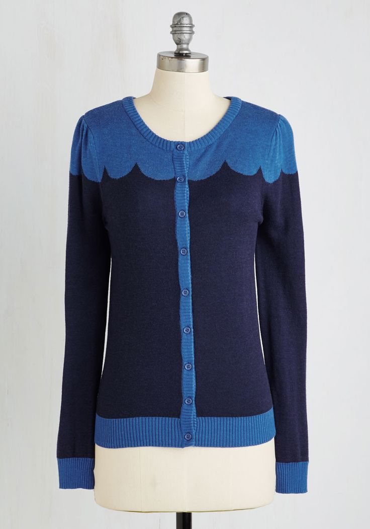 Paris Cafe Cardigan in Evening. Even an exquisitely brewed cafe au lait and a fine, flaky croissant cant hold a candle to this adorable cardi - part of our ModCloth namesake label! #blue #modcloth