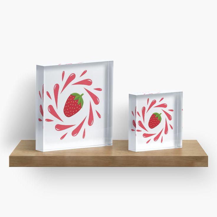 Strawberry splash by LunaPrincino #design #strawberry #berry #fruit #fresh #juicy #food #raw #vegan #red #and #white #splash #motion #graphic #drops #print #prints #redbubble #gift #idea #ideas #summer #vivid #graphics #cool #pretty #cute #creative #style #home #decor #interior #decorative #decoration #acrylic #block #blocks