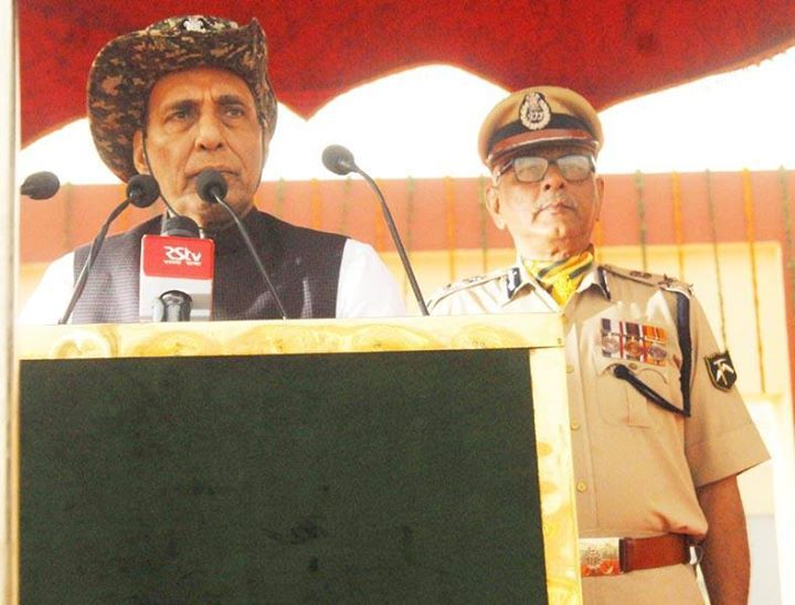 Union Home Minister Rajnath Singh addressing during the 55th Raising Day celebration of ITBP (Indo Tibetan Border Police) at the camp of the force in Greater Noida. (UNI)