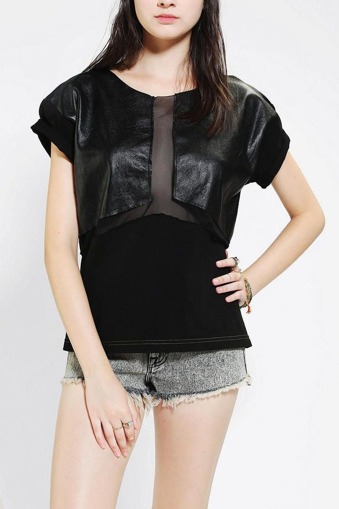 urban renewal chiffon and faux leather tee black mesh top shirt urban outtfiters #UrbanOutfitters #KnitTop #Casual