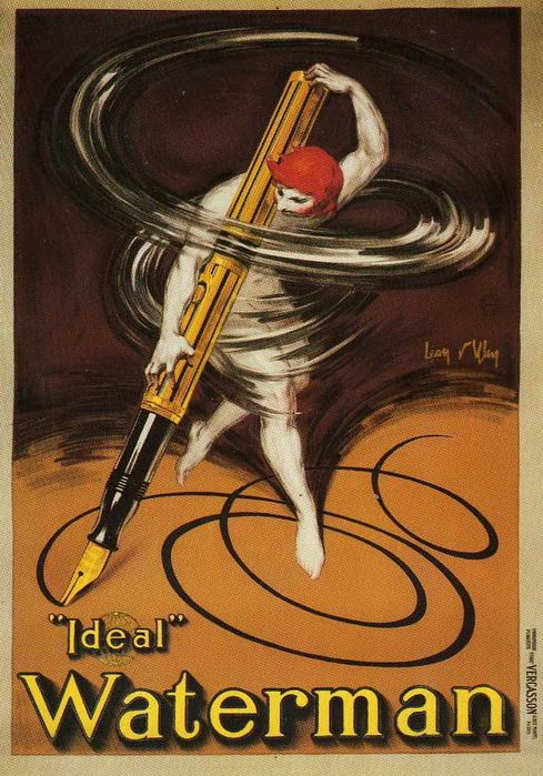 intothebeautifulnew:  Advertisement for Waterman pens, 1929. onestonedcrow:  Via rodich2007