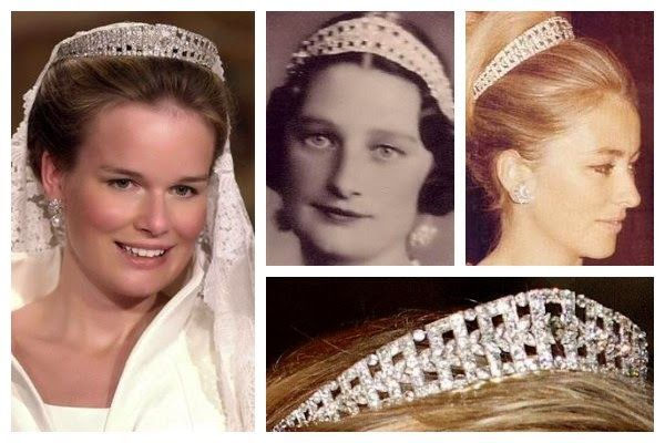 Queen Elisabeth's Diamond Bandeau Tiara. One of the two tiaras that the Belgian queen wears on a regular basis, this diamond art deco tiara was made in the early twentieth century for Queen Elisabeth of the Belgians. It was loaned to Princess Mathilde for her wedding in 1999.