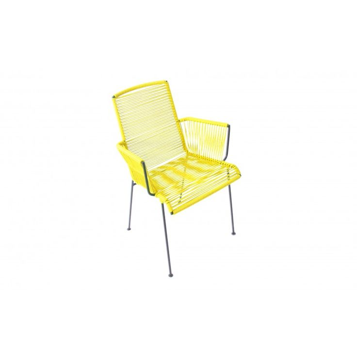 chaise avec accoudoir tress jaune moutarde chairs