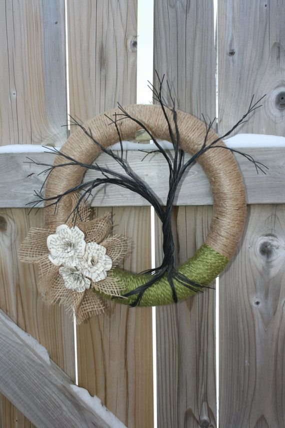 Hey, I found this really awesome Etsy listing at https://www.etsy.com/listing/176716905/rustic-wreath-with-jute-apple-green-wool