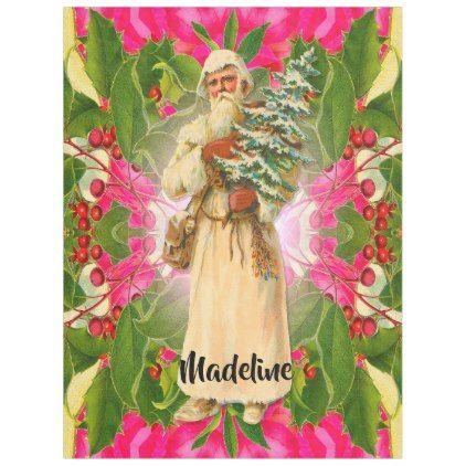 Old Santa From the Past Victorian    Monogram Fleece Blanket - holidays diy custom design cyo holiday family