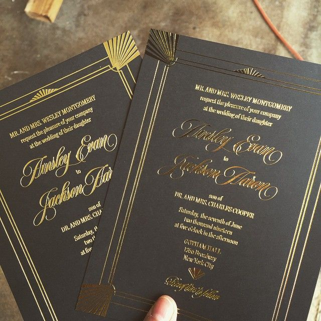 Classy Wedding Invitation From Tag And Company Combining Elegant Black  Cardstock With Gold Foil Text And
