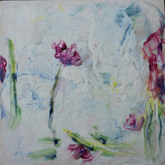 Encaustic painting  original art  handmade Bloom  by HelenKilsby