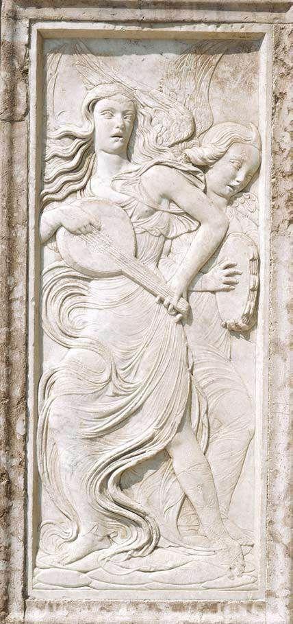 AGOSTINO DI DUCCIO Angels Playing a Lute and Tambourine 1457-61 Marble Oratorio di San Bernardino, Perugia