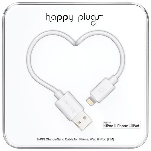 Happy Plugs 2m (6.5 ft.) Lightning/USB Cable - White