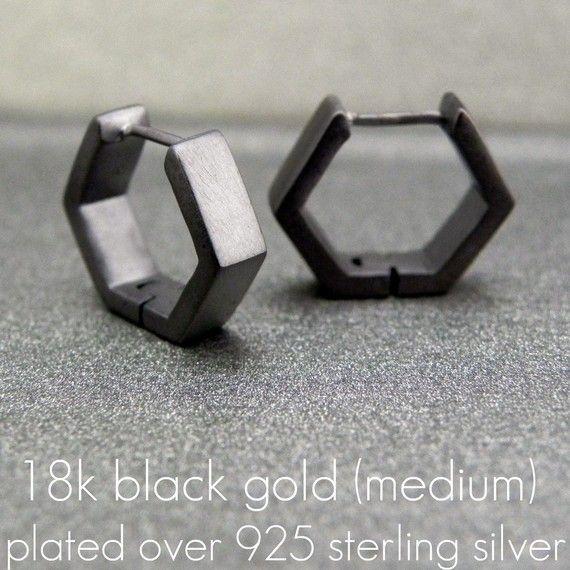 Mens Earrings Black Square Huggie Hoop Ear Cartilage by 360Jewels