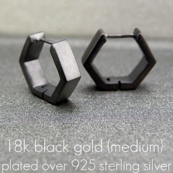 Mens Earrings Black Square Huggie Hoop Ear Cartilage by 360Jewels