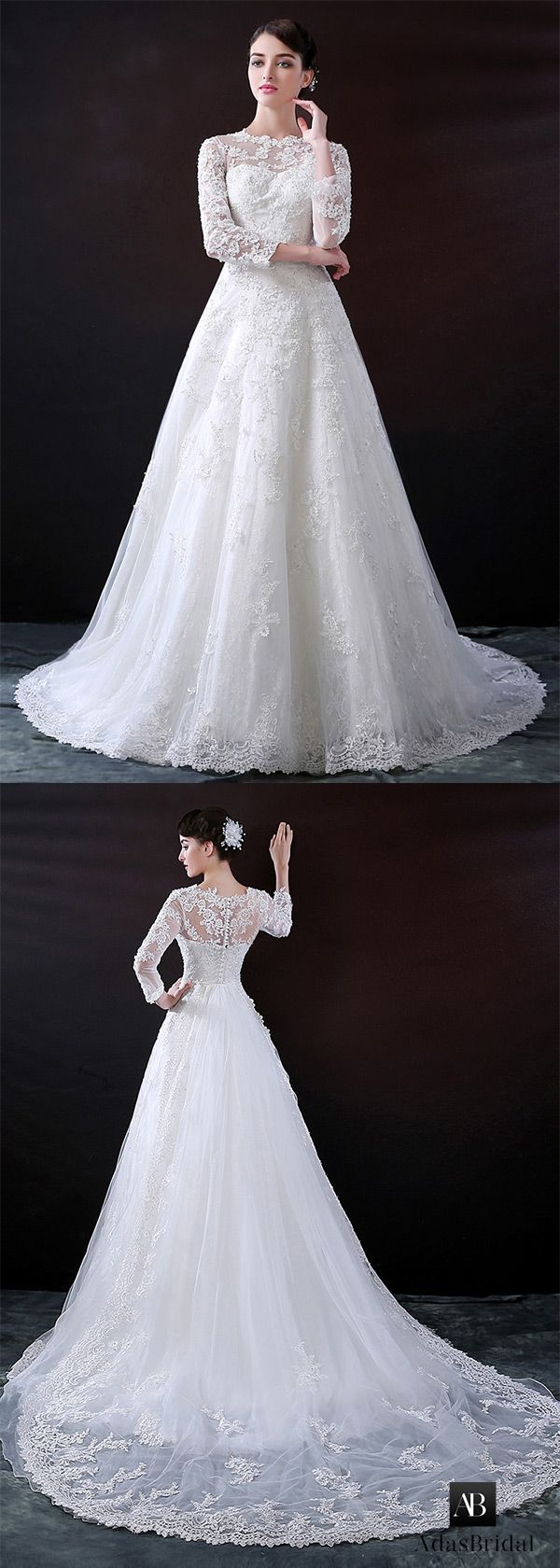 Charming tulle bateau neckline a-line wedding dress with lace appliques. Free shipping now! (WWD70380) - Adasbridal.com