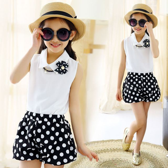 Special price Kids Girls clothes Sport suits 2016 summer dot chiffon sleeveless lapel Shirt+shorts Set baby Girl Children clothing sets 4-12Y just only $12.95 - 14.75 with free shipping worldwide  #girlsclothing Plese click on picture to see our special price for you