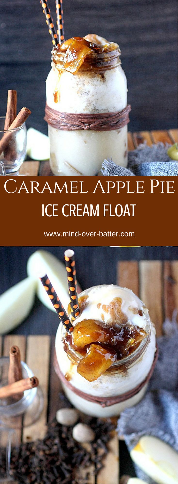 Caramel Apple Pie Ice Cream Float -- www.mind-over…