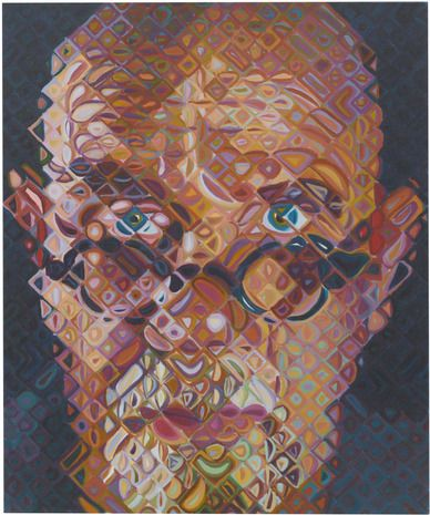 Chuck Close - Self-Portrait, 2010 Chuck Close creates fragmented portraits using grids, shape and colour. Great technique very effective.