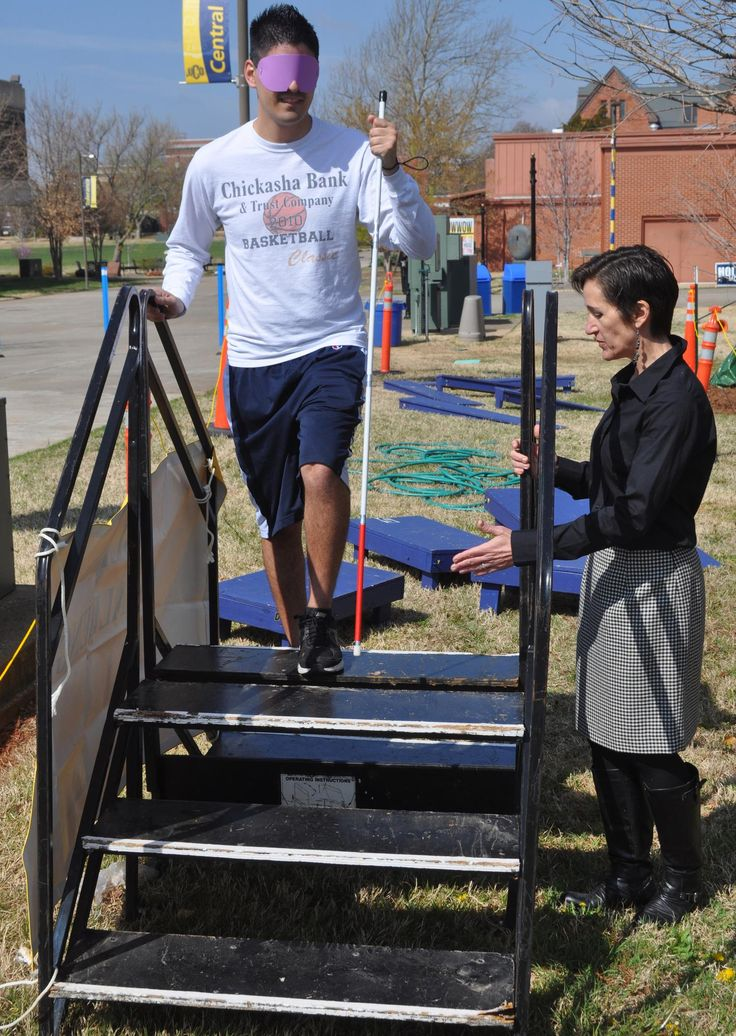 Monday morning, University of Central Oklahoma student Luis Morales grabbed a white cane, strapped on a blindfold and made his way to the start of a sort of obstacle course.