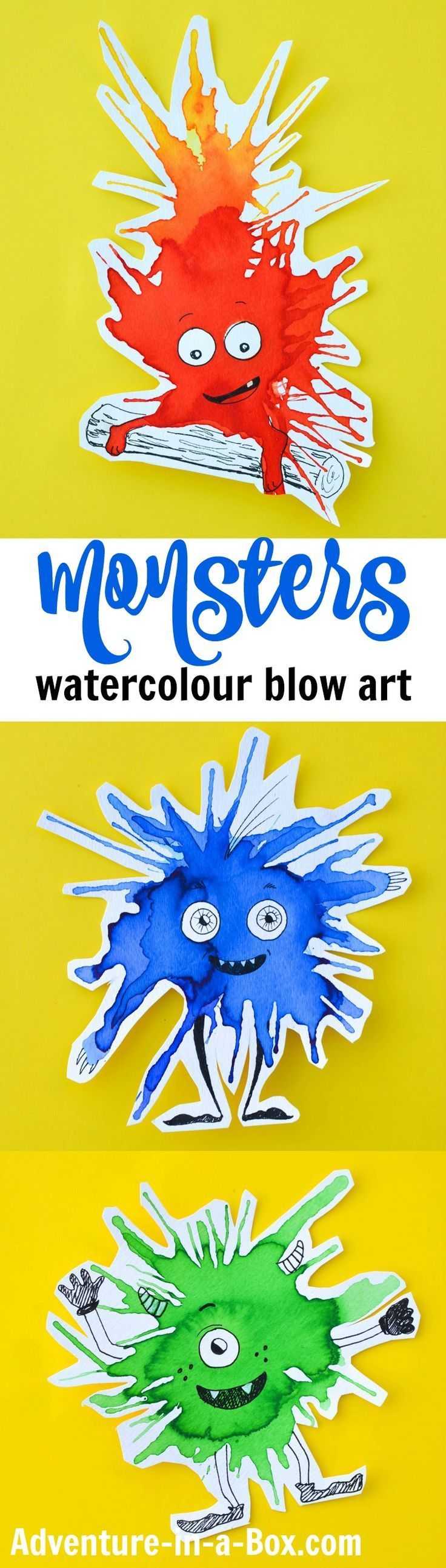 Fun little monster art project for kids using watercolors.