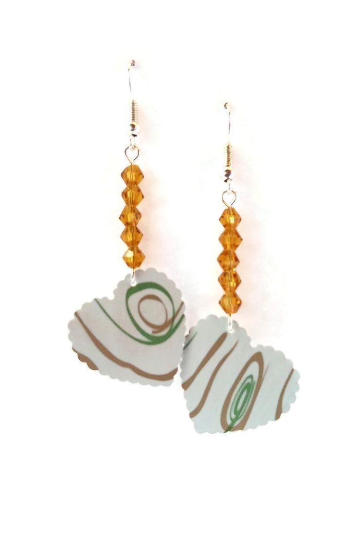 Boucles d'Oreilles Perles Tchèques - Coeurs Nespresso Blancs Rubans Verts Dorés - Verre : Boucles d'oreille par cap-and-pap