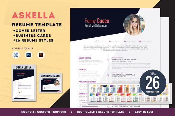 Askella Premium Resume Template by Resume Templates on Creative Market